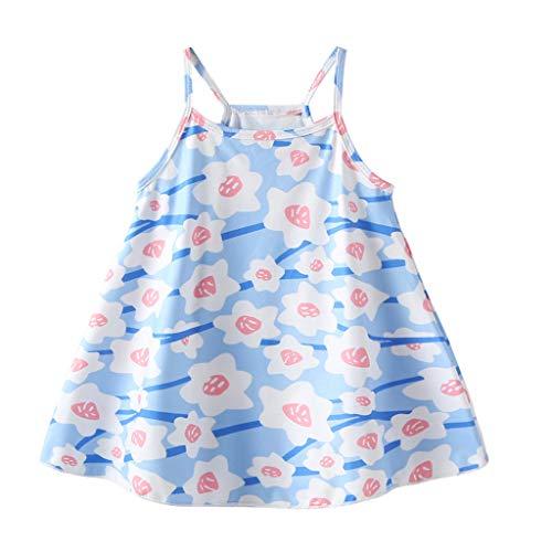 sunnymi  - Vestido de Verano para niña de 0 a 4 años, diseño de Flores y Lunares Azul Claro 12-18 Meses