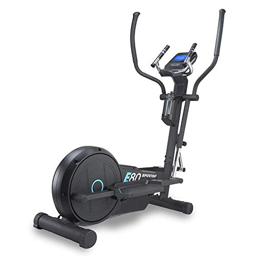 Sportop E80 Adjustable Quiet Resistance Home Step Climber Elliptical Exercise Cardio Machine with Magnetic Resistance Training and LCD Display, Black