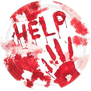 """Bloody Hands Handprint 10 1/2"""" Dinner Plates 36-2 packs 18-Great for Halloween or Zombie Party"""