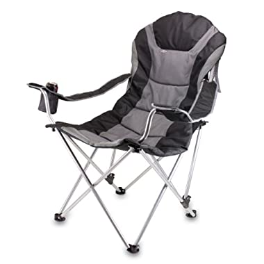 Picnic Time Portable Reclining Camp Chair, Black/Gray