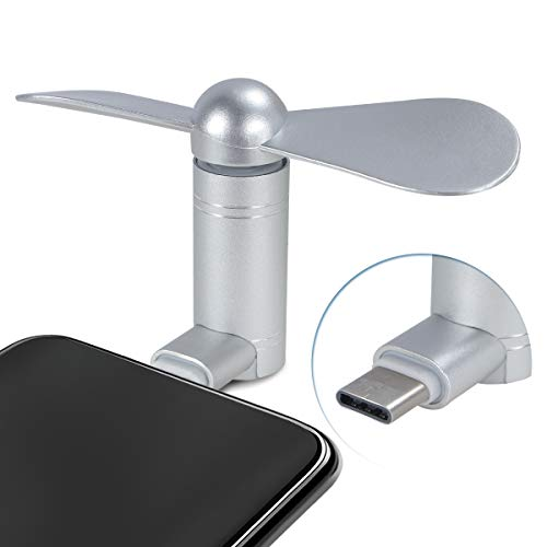 Cell Phone Fan, Portable Aluminum Alloy Shell Mobile Phone Fan Cooling Fan Air Conditioner Cooler, Mini Fan for Android Cell Phone, Compatible for Type C Port Phone Fan (Type C, Silver)