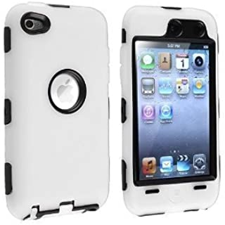 Hybrid Case compatible with Apple iPod touch 4th Generation, Black Hard / White Skin