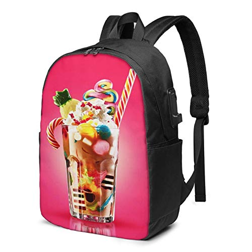 Laptop Backpack with USB Port Festive Cocktail Sweets Candy Jelly, Business Travel Bag, College School Computer Rucksack Bag for Men Women 17 Inch Laptop Notebook
