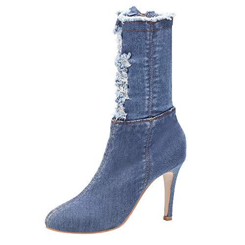 Vovotrade dames winter korte laarzen denim gat ritssluiting enkellaarzen High Heels bleek Toe schoenen lichtblauw, donkerblauw EU 36,5 – 40,5