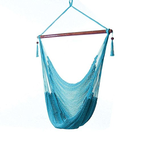 Sunnydaze Hanging Rope Hammock Chair Swing - Caribbean Style Extra Large Hanging Chair for Backyard...