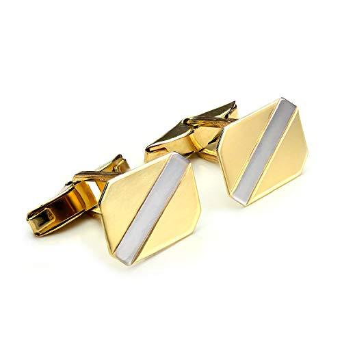Boutons de Manchette Rectangulaires en Ors Jaune et Blanc 9 Carats - Tête Pivotante