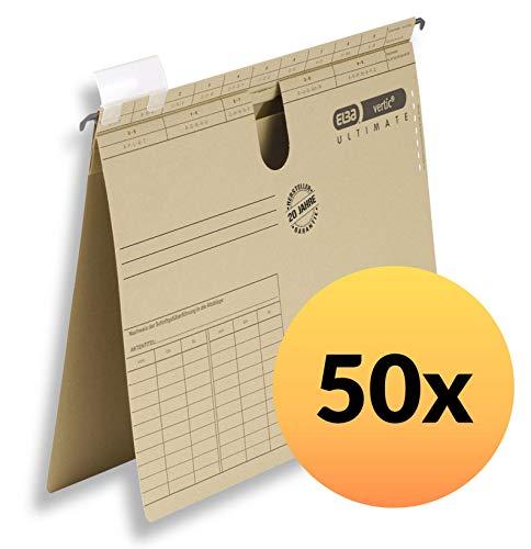 ELBA vertic ULTIMATE Hängehefter A4, aus Recycling-Karton, naturbraun, 50er Pack