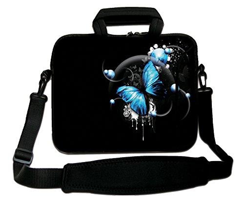 Luxburg® Schultertasche, 14 Zoll, weich, für Notebooks, mit Handgriff, Design: Schmetterling, Blau