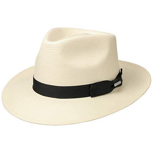 Stetson Sombrero Bogart Toyo Telida Mujer/Hombre - de Paja Sol con Banda Grosgrain Primavera/Verano