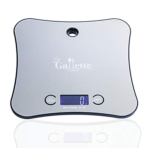 Food Scale by Gallette Cuisine   Multifunction Kitchen Scale   Stainless Steel Digital Scale for Cooking and Baking   11 lbs/ 5 kg Scales Digital Weight   Batteries and Free Cookies Recipes Included