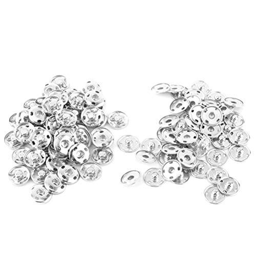 Rosenice Druckknöpfe aus Metall 15 mm für Kleidung und Lederwaren, Silbern, 50 Stück