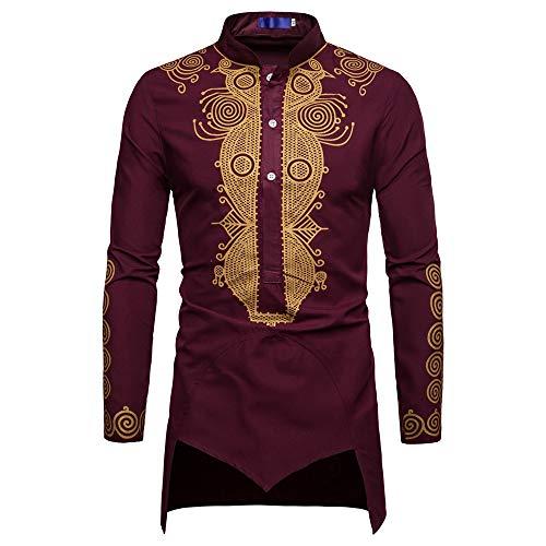 Chemises de Gentleman pour Hommes, Hauts à Manches Longues de Style Africain Irrégulier Malloom, Chemisier de Soirée