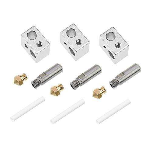 VIKTK 3pcs M7 26mm Extruder Tube + 3pcs 0.4mm Brass Extruder Nozzle Print Heads + 3pcs Aluminum Heater Block Specialized Fit For MK10 M7