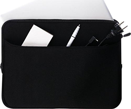 honju DarkRoom Neopren Tasche/Sleeve für HP 15, HP 250 G5, HP 255 G5 Notebook - schwarz [Große Außentasche | Reißverschluss | Weiches Innenfutter] - 88026