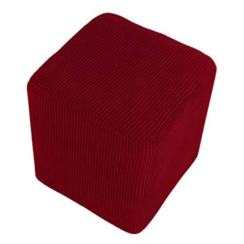 Baoblaze Scatola di Immagazzinaggio Morbido Pouf Copertura Stretch Rettangolo Sgabello Copre Poggiapiedi Fodera Divano Copertura della Protezione Lavabile in - Vino Rosso