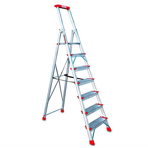 Faraone - Escalera de Aluminio EN947-7 peldaños - Escalera de Tijera Profesional - 235x53x15 cm - Con Bandeja Portaobjetos y Barandilla - Peso soportado de hasta 150 kg
