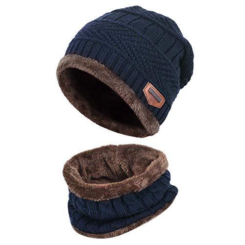 XYIYI Blau Kinder Wintermütze und Schal Set, 2 Stück Warme Strickmütze Beanie Hut für 5-14 Jahre