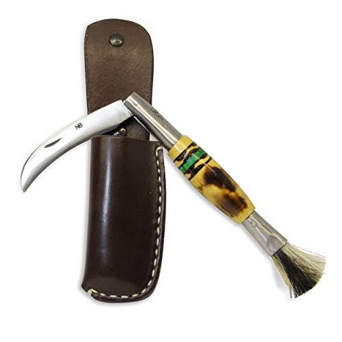 Navajas Barroso. Pilzmesser mit bürste und tasche. Handgemachtes taschenmesser in Taramundi mit klinge aus carbon und edelstahl, verzierter holzgriff und leder etui aus handgefertigt. (Grün)
