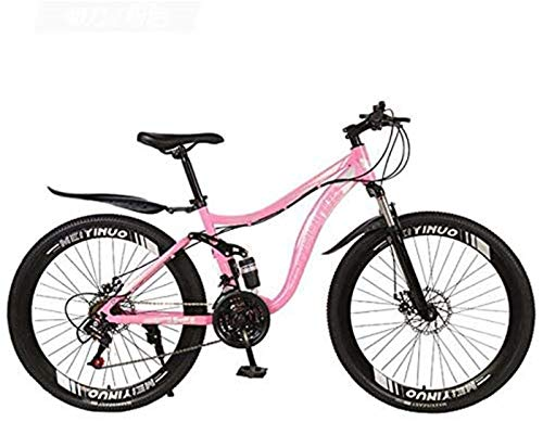 HCMNME Durable Bicycle 26 Inch Mountain Bike Bicycle, Full Suspension High Carbon Steel Frame MTB Bike with Adjustable Seat, PVC Pedals and Mountain Tires, Double Disc Brake Alloy Frame with Dis