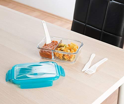 Rosenstein und Söhne Lunchbox: Glas-Frischhaltedose, 2 Kammern, Besteck, Klick-Deckel, -20 bis 520 °C (Frischebox)