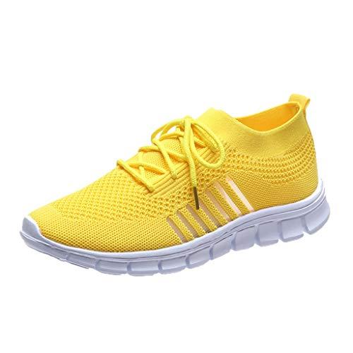 Xmiral Mesh Atmungsaktiv Sneakers Damen Einfarbige Schnür-Laufsportschuhe Joggingschuhe (40,Gelb)
