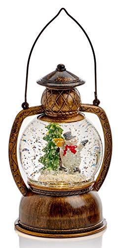 Mask & Co Weihnachtliche LED-Wasserspinner, Schneekugel, Schneemann, Sturmlaterne, 20 cm hoch, mit Timer