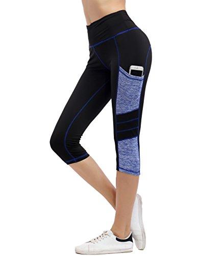 IMIDO Women's Yoga Capri Pants Sport Tights Workout Running Leggings with Side Pocket (L, Black Capri Pants)
