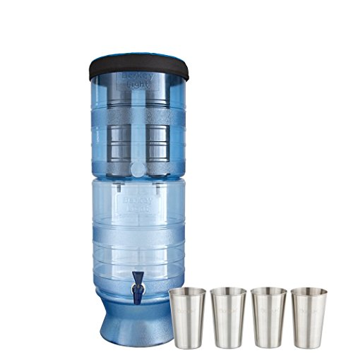 Boroux Bundle Includes Berkey Light Berkey Water Filter with 2 Black Purifier Filters (2.5 Gallons) System Bundled with 1-Set of 4 12 oz Stainless Steel Cups