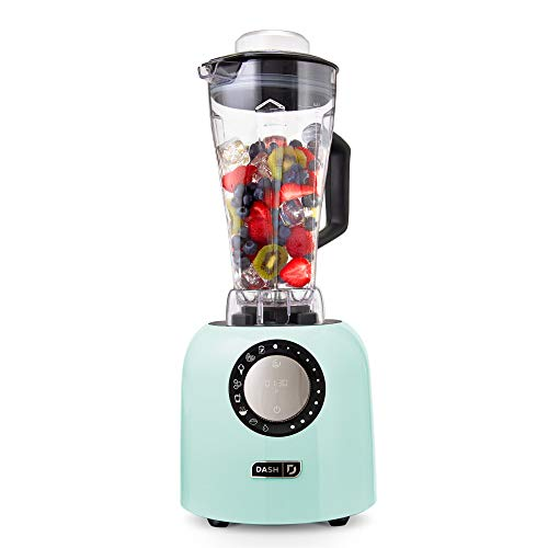 Dash Chef Series Deluxe 64 oz Blender with Stainless Steel Blades, Digital Display + USB Charging for Coffee Drinks, Fondue, Frozen Cocktails, Nut Butter, Soup, Smoothies & More, 1400-Watt – Aqua