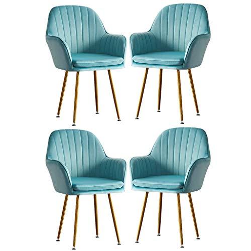 Flanelle Chaise De Salle À Manger Luxe Chaise Canapé Simple Girl Makeup-Dressing-Chair Lounge Tabouret À Ongles Créatif Fauteuils De Mode Lot De 4 (Color : Light blue)