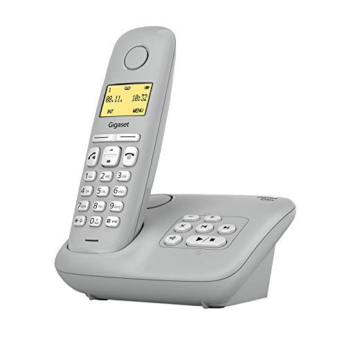 Gigaset A280A, Schnurloses Telefon analog mit Anrufbeantworter, brillante Audioqualität auch beim Freisprechen, intuitive, symbolbasierte Menüführung, Kurzwahltasten, Grafik-Display, grau