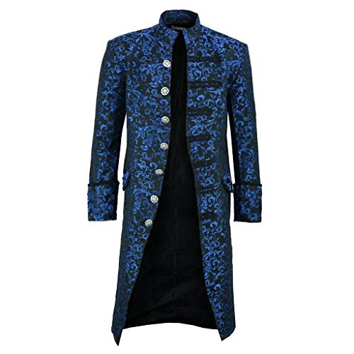 NANTE Shirt Loose Men's Button Steampunk Vintage Tailcoat Jacket Gothic Frock Uniform Coat Mens Cosplay Tops Halloween Costume (Blue, XXXL)