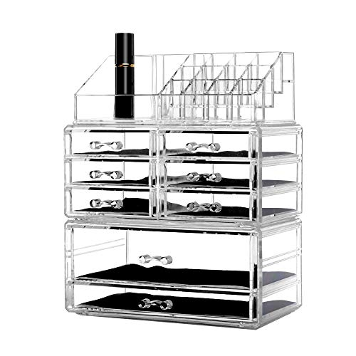 DreamGenius Makeup Organizer 3 Pieces Acrylic Jewelry and Cosmetic Storage Display Boxes with 8...
