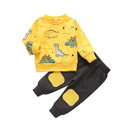 AKlamater Kleinkind Baby Jungen Bekleidungssets Little Dinosaurier gedruckt Langarm Tops und Hosen Kinder 2 Outfits (100 gelb)