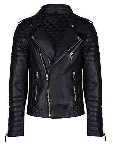 Aries Leathers Men's Real Lambskin Leather Genuine Motorcycle Jacket MJ300 (S, Black)