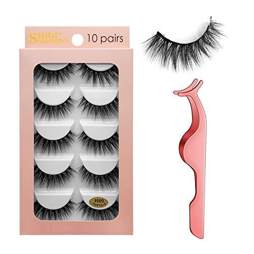 Falsche Wimpern 10 Paar, 3D Künstliche Wimpern Set, Wiederverwendbare natürliche Wimpern mit Wimpernpinzette (G604)