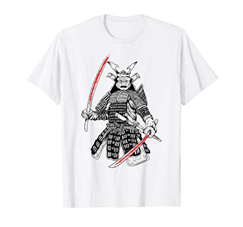 Samurai Kämpfer mit 2 blutigen Katanas in den Händen | Japan