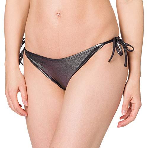 Calvin Klein Damen String Side TIE-METALLIC Bikini-Unterteile, Silber, M