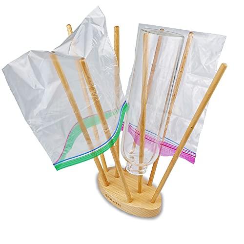 CRAKTH Plastic Bag and Baby Bottle Drying Rack, Reusable Ziplock and Freezer bag Dryer Rack, Space Saving, Beech Wood