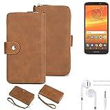 K-S-Trade® Handy-Schutz-Hülle Für -Motorola Moto E5 Plus Dual-SIM- + Kopfhörer Portemonnee Tasche Wallet-Case Bookstyle-Etui Braun (1x)
