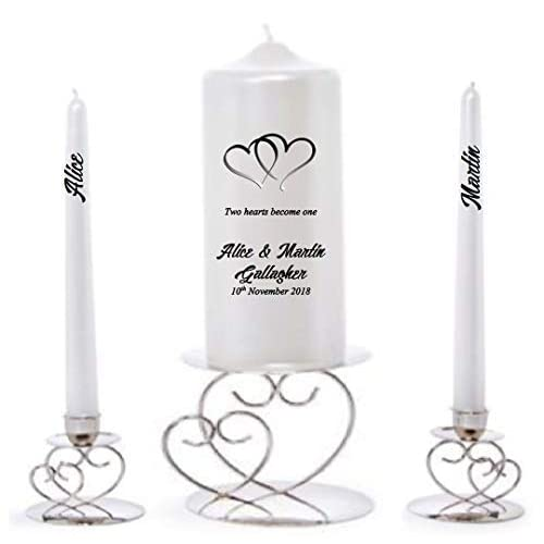 LilUniquegifts Personalised Simple Heart Wedding Anniversary Unity Candle Set for Bride & Groom to declare their Love