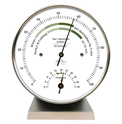 Fischer Wohnklima Hygrometer Thermometer mit Sockel 122.01HT-01, Ausführung:Edelstahlsockel
