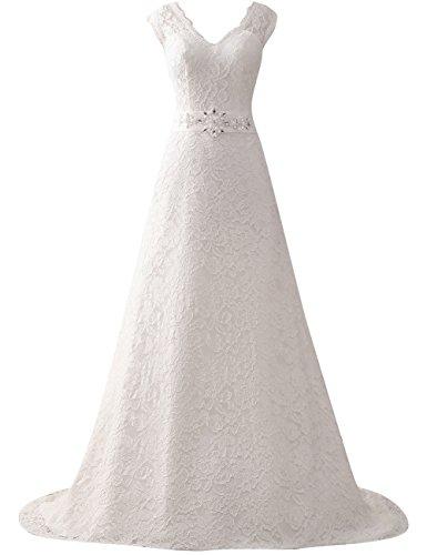JAEDEN Lace Wedding Dress for Bride with Sash V Neck Cap Sleeve Bridal Gown A line Ivory US2