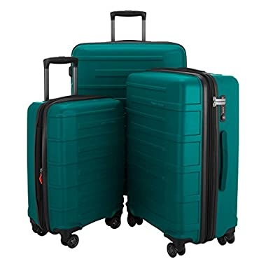 "HAUPTSTADTKOFFER Ostkreuz Luggages Set Matt Suitcase Set Hardside Spinner Trolley Expandable (20"", 24"" & 28"") TSA Pine Green"