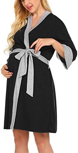 Ekouaer Nurisng Maternity Robe Breastfeeding Dress Labor Nightshirt Sleepwear Black XX Large product image