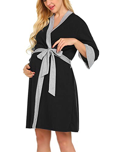 Ekouaer Maternity Nursing Robe,Delivery NightgownsHospital Breastfeeding Gown