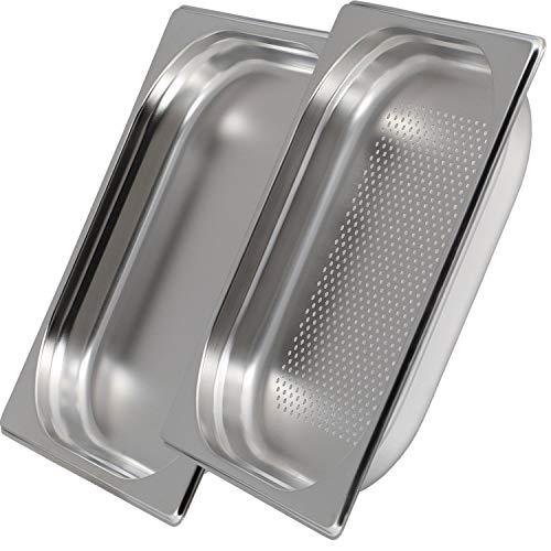 Greyfish 2er GN Behälter Set :: 1x gelocht / 1x ungelocht :: geeignet für Gaggenau, Miele und Siemens Dampfgarer (Edelstahl, Spülmaschinen geeignet, GN 2/3, B 32,5 x L 35,4 x 40mm tief)