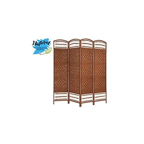 Biombo/Separador de Ambientes Grande, de Bambú, Color Wengué, para Dormitorio o Salón, Decorativo 170cm -Hogar y Más - 4 Paneles