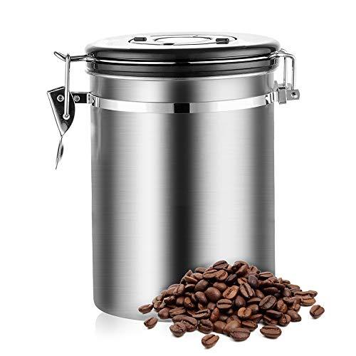 Lifemaison Kaffeedose Luftdicht Kaffeebehälter aus Edelstahl mit Deckel mit Datumsverfolgung Aromadose Vorratsdose Vakuum Dose für Kaffeebohnen, Pulver, Tee, Nüsse, Kakao (Ohne Messlöffel, 1800ml)