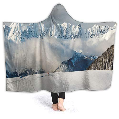 Couverture à capuche 203 x 152,4 cm, vue panoramique sur les montagnes et deux personnes marchant dans les Alpes françaises, randonnée, voyage, couverture portable unisexe